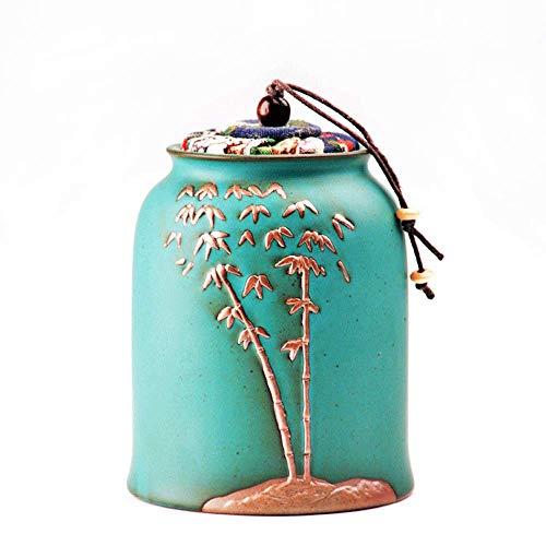 CGH Matte Green Glaze Funeral Urn- Simple Stoneware Small Ash Storage Tank - Dehua Ceramic Bamboo Relief, Symbolizing The Elasticity, Happiness and Spiritual Truth of Life (Glaze Urn)