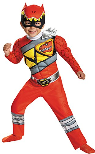 UHC Boy's Red Ranger Dino Charge Muscle Chest Child Halloween Superhero Costume, Toddler M (3-4T) (Ranger Boot Red Covers)