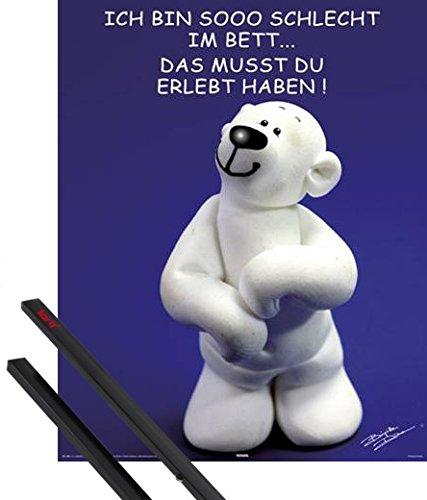 1art1® Poster + Hanger: Tatzino Mini Poster (20x16 inches) Schlecht Im Bett And 1 Set Of Black Poster Hangers