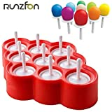 Naisidier 9pcs Silicone Mini Moulds Ice Cream Popsicle Moulds Ice Pop/Lolly/Tool Set Cream for birthday or party gifts (Red)