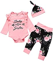 NEWLL Newborn Baby Girl Clothes Outfits Romper Jumpsuit Bodysuit Long Sleeve Tops Floral Pants Hat Set