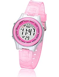 Kids Digital Watches for Girls Boys,Child Cute Waterproof Wristwatch Outdoor MultiFunctional Watches with Soft Strap Suitable for Ages 4-13 (Pink)