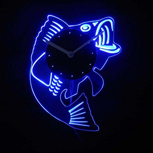 cnc2049-b Bass Fish Man Cave Room Illuminated Edge Lit Bar Beer Neon Sign Wall Clock with LED Night ()