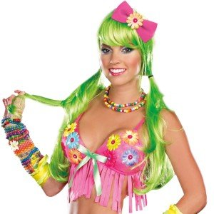 Light Up Long Adult Wig (Dreamgirl Light-Up Long Wig, Green, One Size)