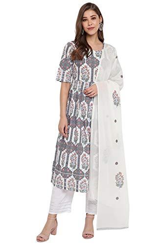Janasya Indian Women's White Cotton Flared Kurta with Palazzo and Dupatta
