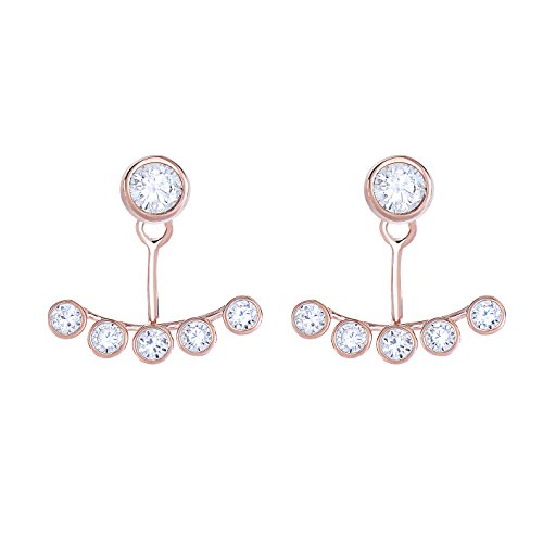 Ear Jacket 2 in 1 Brilliant Cut Bezel Set CZ AAA Quality 14k Gold Plated-Sterling Silver Stud & Jacket Earrings Set (Rose Gold - Rose Set Cut Bezel