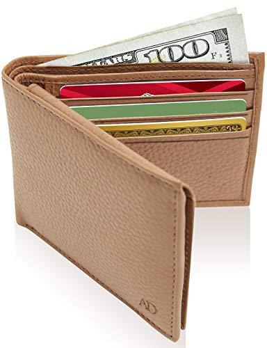Slim Leather Bifold Wallets For Men - Minimalist Mens Wallet RFID Blocking Card Holder With ID Window Box Gifts For Men Design Bi Fold Wallet