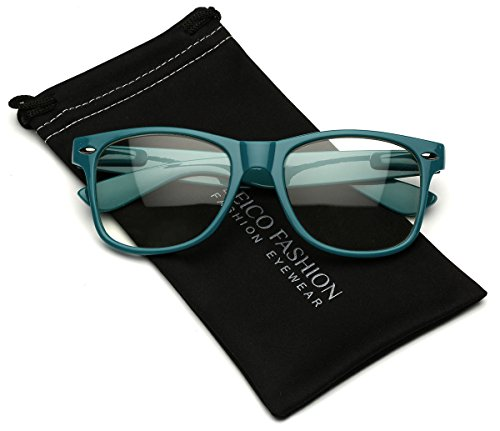 Iconic Square Horn Rimmed Clear Lens Retro Glasses (Turquoise, - Frames Glasses Turquoise