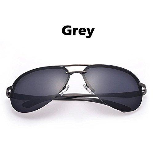 guiar los lentes hombres TIANLIANG04 Color gafas gafas de Estructura Oculos espejo los metal 100 conductores de para polarizado gafas a plata UV400 para de sol sol Grigio gpp0qC