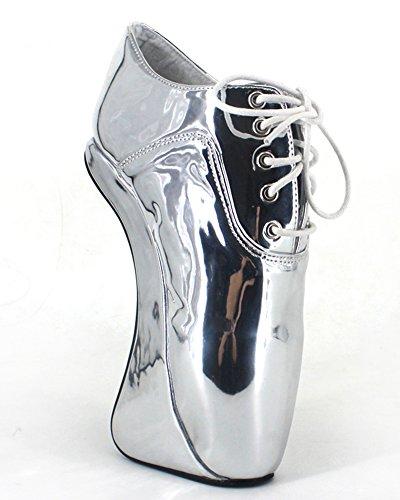 Wonderheel heelless Silber fetisch patent lace up ballett stiefel VYbGLthvFu