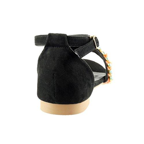 Angkorly - Zapatillas de Moda Sandalias mujer joyas pompom Talón Tacón ancho 1.5 CM - Negro