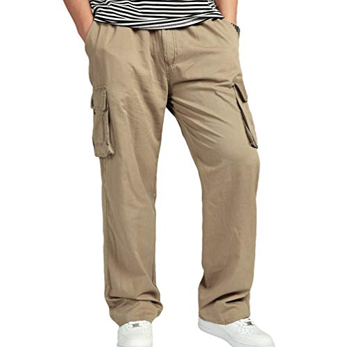 Taille Jaune Casual Élastique Pantalons Hommes Survêtement De 1 Multi Cargo Grande Zengbang poches Salopettes RwqABS
