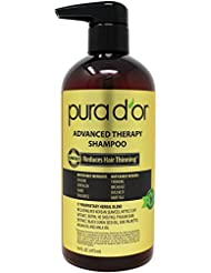 PURA D'OR Advanced Therapy Shampoo Reduces Hair Thinning and Increase Volume, Sulfate Free, Infused with Argan Oil, Aloe Vera, & Biotin, for All Hair Types, Men & Women,16 Fl Oz