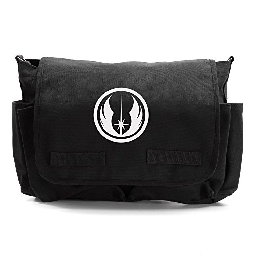- Jedi Order Logo Army Heavyweight Canvas Messenger Shoulder Bag, Black