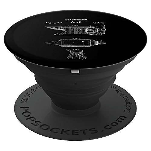 Blacksmith Anvil Blueprint - Iron Blacksmithing - PopSockets Grip and Stand for Phones and Tablets