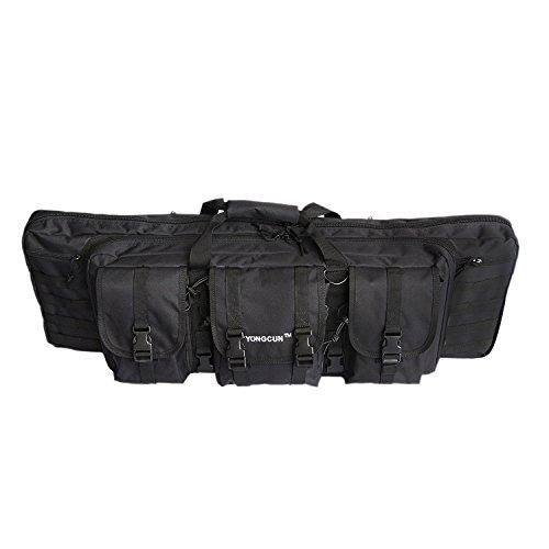YONGCUN Gun Bag Gun Case Rifle Bag Double Tactical Bag Carbine Cases Long Gun Case Bag Tactical Gun Bag 36inch Black 600D Waterproof PVC (Paintball Gun Double Barrel)