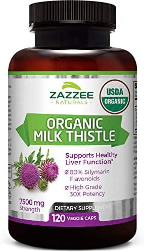 Zazzee USDA Organic Milk Thistle 120 Veggie Caps, 7500 mg Strength, 80% Silymarin Flavonoids, Potent 30:1 Extract, USDA Certified Organic, Vegan, Non-GMO and All-Natural
