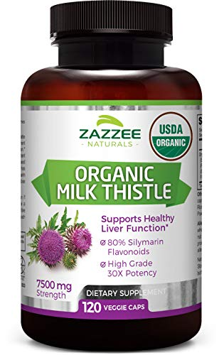 USDA Organic Milk Thistle 120 Veggie Caps | 7500 mg Strength | 30X Concentrated | 80% Silymarin Flavonoids | Non-GMO, Vegan and All-Natural | USDA Certified Organic | Extra Strength Liver Detox (Best Natural Way To Detox From Weed)