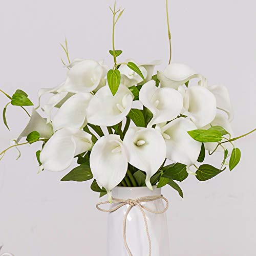YUYAO Calla Lily Artificial Flowers Bridal Wedding Bouquets Latex Real Touch Lillies Flower Arrangements for Home Party (White, 1) - Lily Basket Arrangement