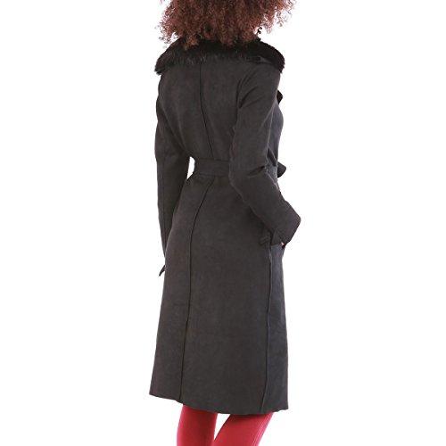 La Femme Long Trench Modeuse En Noir Suédine rEqCrwX