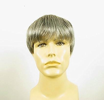 Peluca hombre corto de cabello 100% natural gris mecha blanca STEVE 44