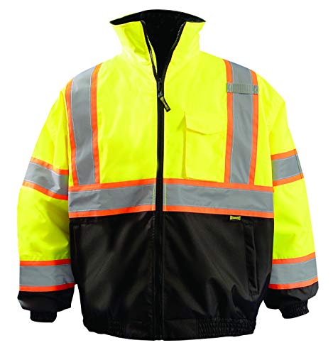 (OccuNomix LUX-350-B2X-YXL High Visibility 2-in-1 Quilted Two-Tone Black Bottom X Back Bomber Jacket with Zip-Out Quilted Liner and 7 Pockets, Class 3, 100% ANSI Polyester, X-Large, Yellow)