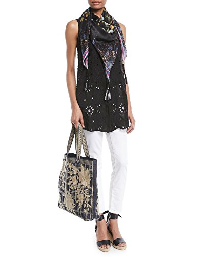 Johnny Was Women's Patterned Silk Square Scarf with Tassels, Multi 5, O/S