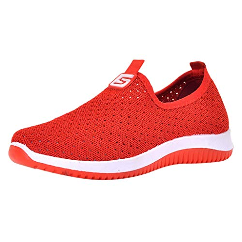 Hunauoo Deals Running Shoes for Women Autumn Mesh Breathable Round Toe Slip-On Travel Basic Shoes Red