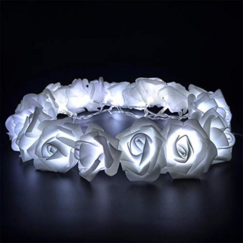 (NXDA USB Charging Gold Rose Shaped Fairy String Lights Wedding Bedroom Patio Decorative Lamp Digital Light (White))