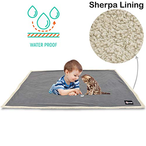 Waterproof Dog Blanket,Premium Pet Puppy Cat Soft Fleece Sherpa Throws Blanket Cushion Mat for Car Seat Furniture Protector Cover Small 50' x 30' by Pawsse Gray