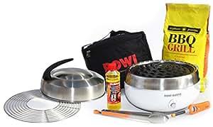 Carbón mesa grill ROWI Gusto Premium–grillerette–Blanco, con Tapa y parrilla de carbón Juego completo con madera de haya en Super