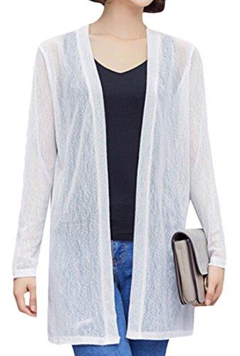 GAGA Women's Sexy Solid Color Cotton Gauze Cardigan White (Crochet Gauze Tunic)
