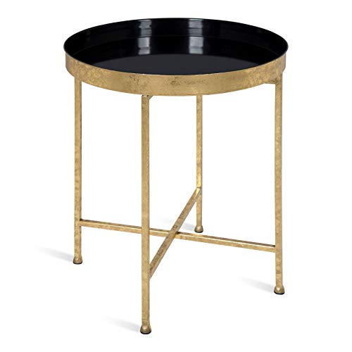 Kate and Laurel Celia 18-Inch Round Metal Foldable Tray Accent Table, Black and Gold