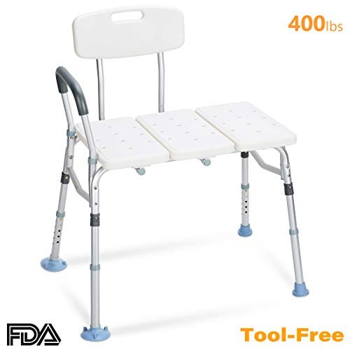 - OasisSpace Tub Transfer Bench 400 lb - Heavy Duty Bath & Shower Transfer Bench - Adjustable Handicap Shower Chair with Reversible Backrest Medical Bathroom Aid for Disabled, Seniors, Bariatric(400lbs)