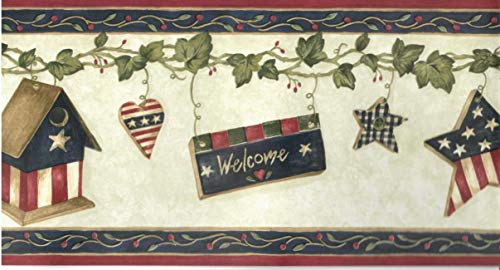 Americana Country Hearts Birdhouse Wallpaper Border