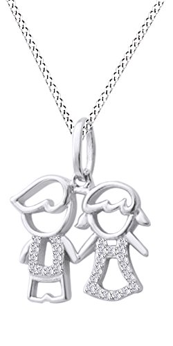 Jewel Zone US Son Daughter Two Kids Twins Family Pendant Necklace 14k White Gold Over Sterling ()