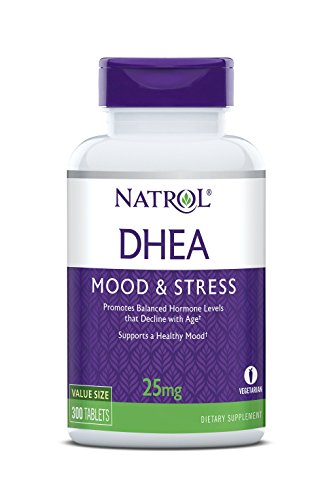 Natrol DHEA Tablets, Promotes Balanced Hormone Levels, Supports a Healthy Mood, Supports Overall Health, Helps Promote Healthy Aging, HPLC Verified, 25mg, 300 Count (Best Over The Counter Male Performance Enhancer)