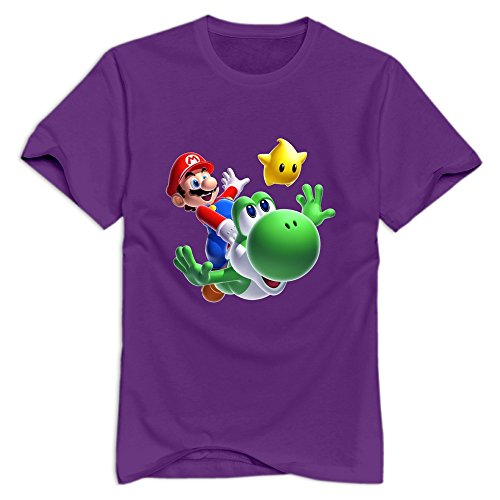 Purple VAVD Man's Super Mario Bros Short Sleeve T-Shirt Size L]()