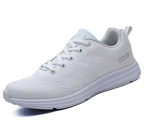 Santimon Sportschuhe Atmungsaktiv Mesh Tennis Mode Fitness Laufschuhe Damen Herren Flyknit Beiläufig Leicht Outdoors Weiß