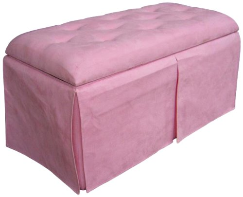 ORE International Storage Bench with Two Ottomans, Pink, 17 x 17 x 35 ,