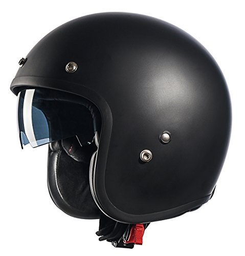 GLX Fiberglass 3/4 Motorcycle Cruiser Moped Scooter Open Face Helmet Bobber Style DOT Approved + 2 Visors (Matte Black, Medium)