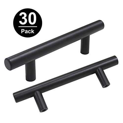Gobrico 3quot Holes Cabinetry Door Kitchen T Bar Handle Cupboard Pull and Knob Stainless Steel in Black 100% Solid 5quot Long 30Pack