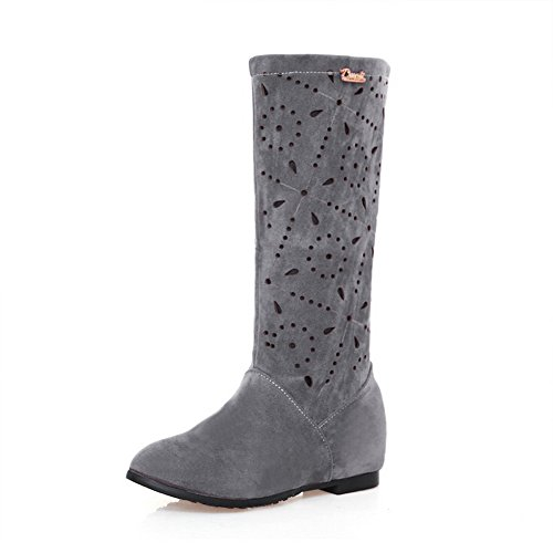 Suede Girls AdeeSu Out Hollow Imitated Boots Pattern Leopard Gray Kitten Heels d4xqS8HxRw