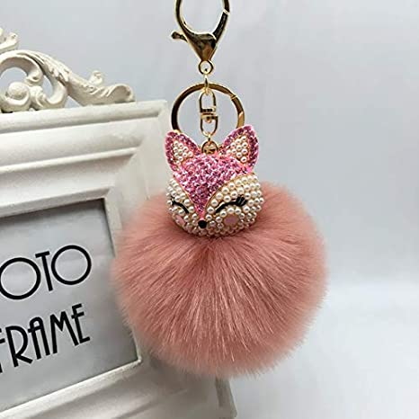 Amazon.com: Rarido Women Crystal Fluffy Keychain Fox Pompom ...