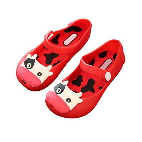 Hzjundasi Baby M?dchen Jungen K¨¹he Weich Gelee Fisch Mund Anti-Rutsch L?ssige Flache Schuhe Kleinkind Kinder Strand Sandalen Regen Stiefel Rot