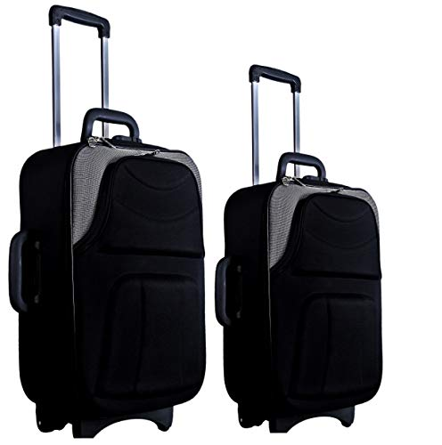 New Jersey Travellers {Polyester SOFTSIDED Suitcase} Scottish Design  24 Inches +20'' Inches Bag   Black   Grey