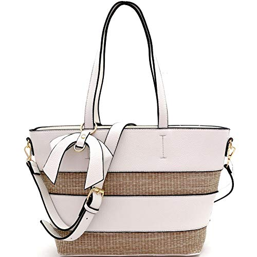 Woven Straw Mixed-Material Bow Accent 2-Way Tote Bag