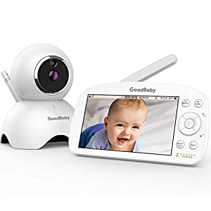 GOODBABY Real 1080P 5.5″ HD Display Video Baby Monitor with Camera and Audio, 5000mAh Battery, Remote Pan&Tilt&Zoom, Two-Way Talk,Temperature Monitor, Night Vision, Lullaby Player, 960ft Range