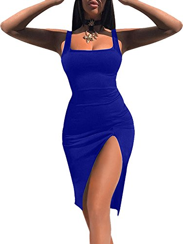 - TOB Women's Sexy Bodycon Sleeveless Basic Tank Knee Length Club Dress Side Slit Royal Blue