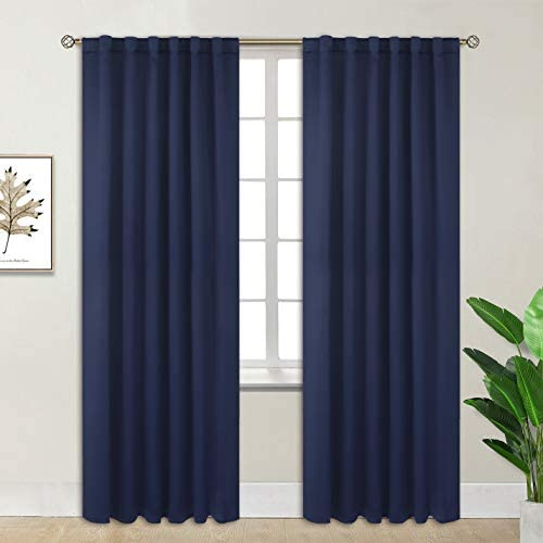 BGment Rod Pocket and Back Tab Blackout Curtains for Bedroom – Thermal Insulated Room Darkening Curtains for Living Room, 2 Window Curtain Panels 52 x 84 Inch, Navy